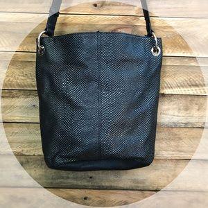 Tignanello Bags - TIGNANELLO black textured leather bag with silver